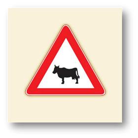 trafik tehlike uyarı işaretleri ehli hayvanlar geçebilir