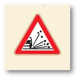 trafik tehlike uyarı işaretleri gevşek malzemeli zemin