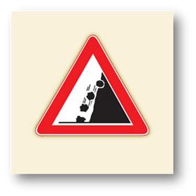 trafik tehlike uyarı işaretleri gevşek şev
