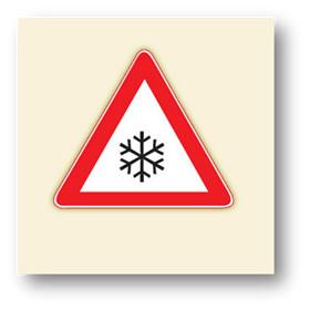 trafik tehlike uyarı işaretleri buzlanma