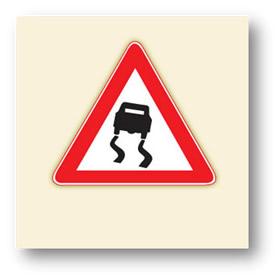 trafik tehlike uyarı işaretleri kaygan yol
