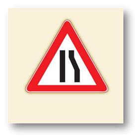 trafik tehlike uyarı işaretleri sağdan daralan kaplama