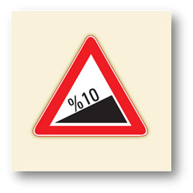 trafik tehlike uyarı işaretleri tehlikeli eğim çıkış