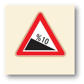 trafik tehlike uyarı işaretleri tehlikeli eğim iniş